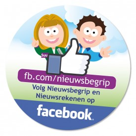 "Sticker ""Volg Nieuwsbegrip en Nieuwsrekenen op facebook"""