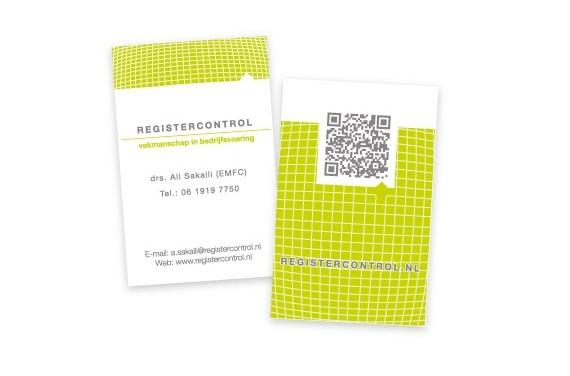 Visitekaart Registercontrol voorzien van Rubber-reliëf