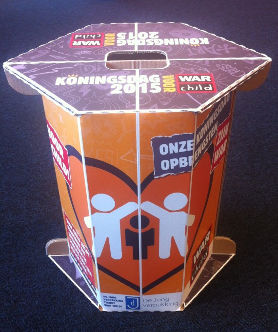 Kartonnen Koningsdag-opberg-kruk